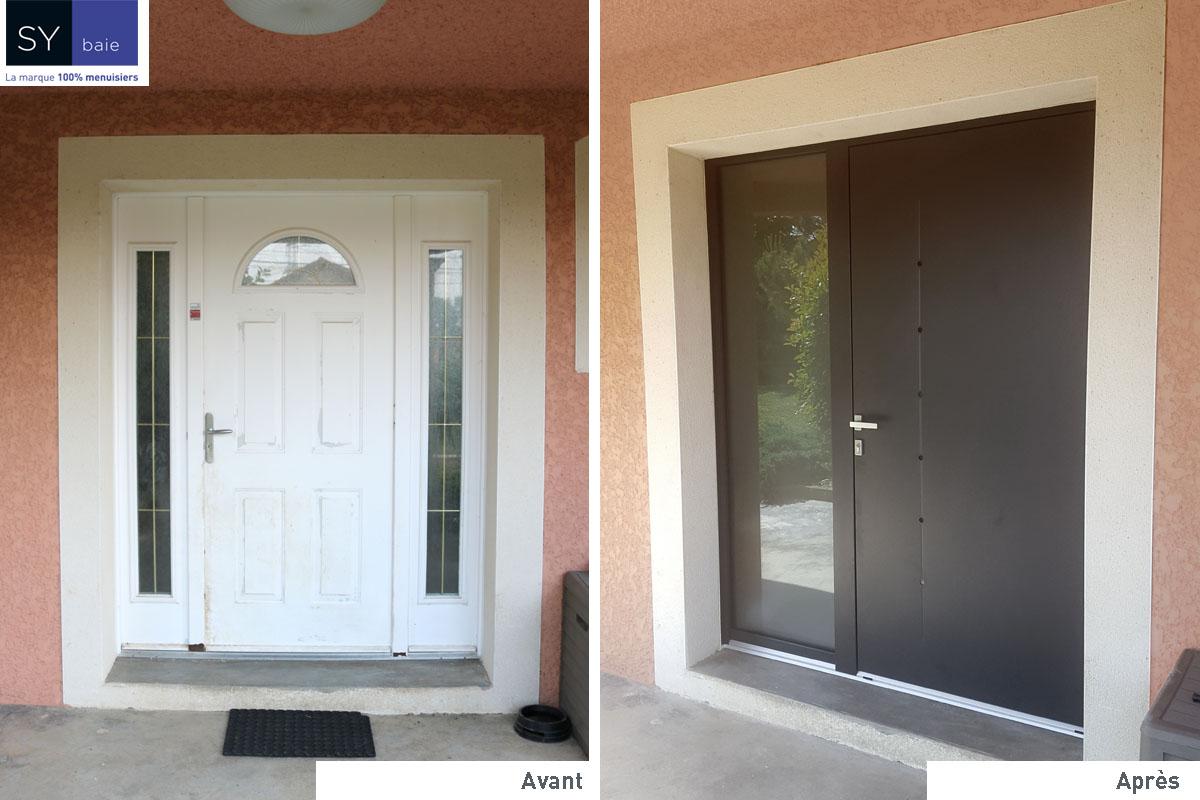 Découvrez l'avant et après du chantier de pose de Mr Vincent concernant sa porte d'entrée alu ! Robustesse, sécurité et luminosité assurés !
