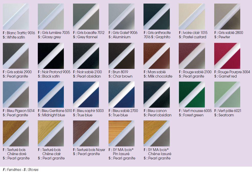coloris des stores vénitiens pour fenêtres alu syma